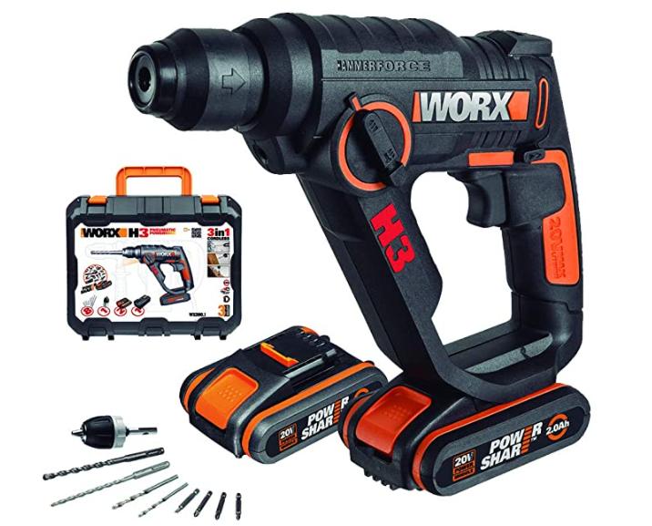 WORX WX390.1 Bohrhammer SDS-plus – 20V Bohrmaschine mit pneumatischem Hammerwerk für nur 114,99€ als Prime-Deal