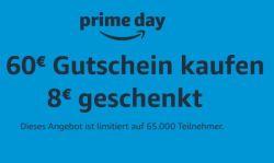 Heute und morgen als Prime-Kunde 60€ Amazon Gutschein kaufen und 8€ Guthaben geschenkt bekommen!