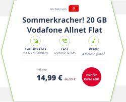 Sommerkracher: 20GB LTE Vodafone Aktionstarif mit 20GB Datenvolumen Allnet- und SMS Flat für 14,99 Euro + 4 Monate Deezer gratis!
